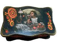 """Шкатулка для чайных пакетов """"Чаепитие"""" (26*15см.) ольха"""