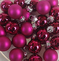 Шарики новогодние РОЗОВЫЙ фуксия_4 шт. Ø 2.5 см.(стекло)
