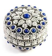 Шкатулка металическая с  синими камнями(d- см h-6 см)