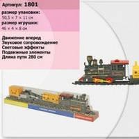 Паровоз батар 1801 (307060R) (48шт/2) 2 платформы с краном, под слюдой 50,5*7*11см