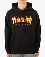 Худи мужская с принтом Thrasher Flame Logo | Толстовка