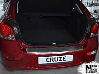 Накладка на задний бампер с загибом Chevrolet Cruze 5D FL с 2013 г.