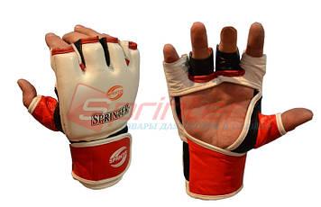 Перчатки для рукопашного боя кожаные  XL (белый)