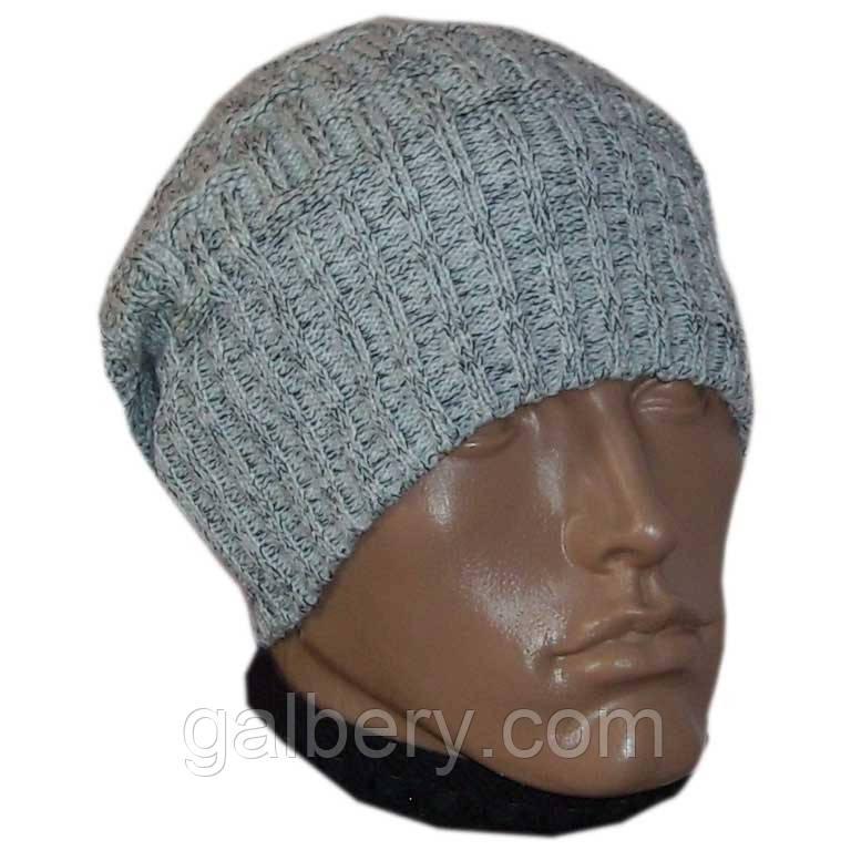 Вязаная мужская шапка - носок машинной вязки , спортивного силуэта