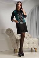 Стильное Платье МИЛАНА,  44-50 размер женское батал короткое осеннее весеннее черное