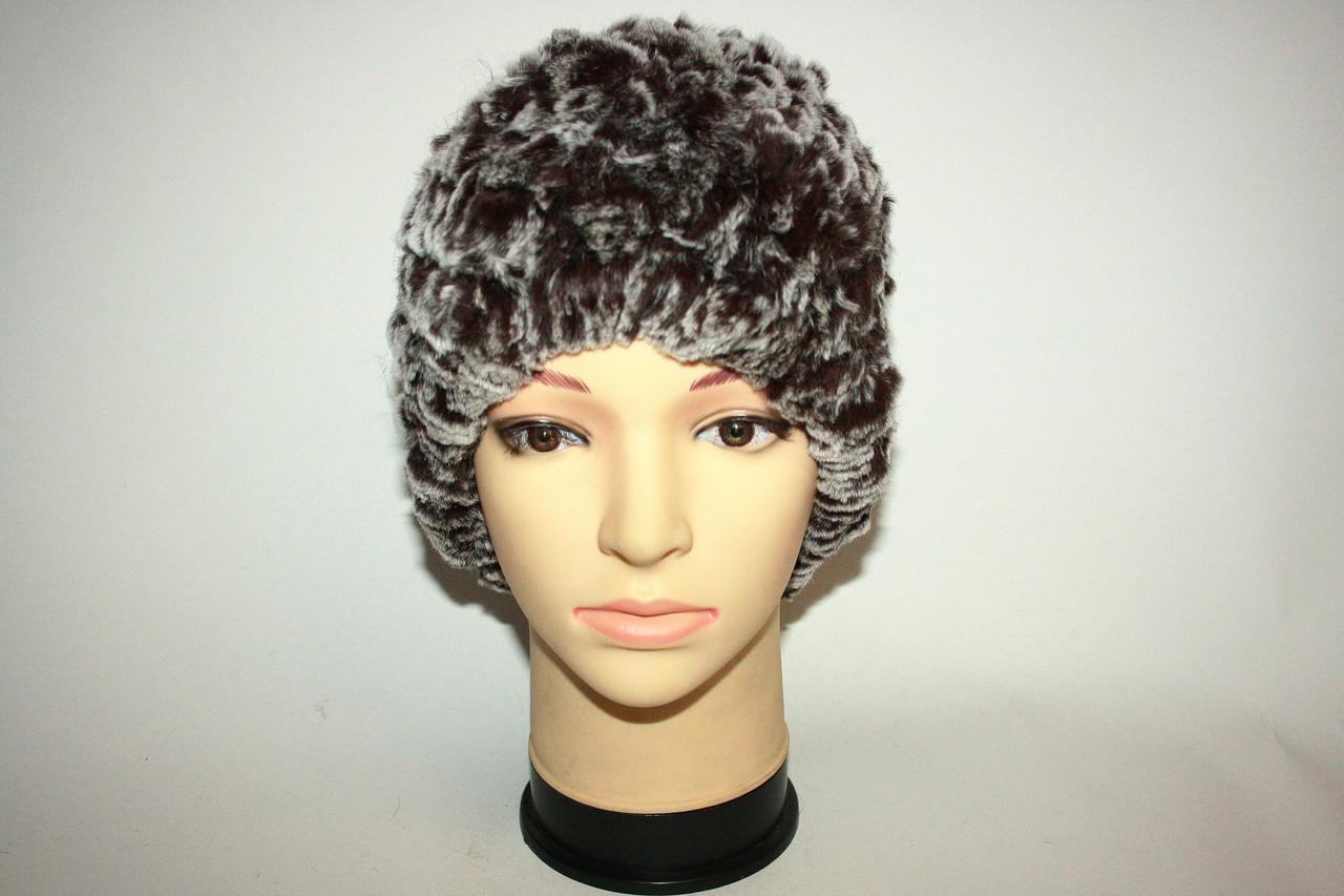 Женская шапка, натуральный мех (вязаная)