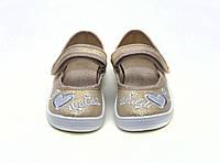Детские летние  мокасины для девочки. Сменная обувь - золотистая на липучке WALDI Украина. Нарядная обувь