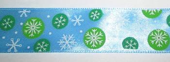 Стрічка Сніжинки 2,5 см, блакитна