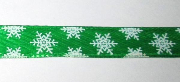 Лента Снежинки 1 см, зеленая