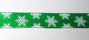 Стрічка Сніжинки 1 см, зелена