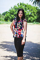 Костюм  кофта-баска принт Вышиванка+юбка черная