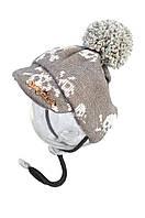 """Зимняя шапка """"Черепа""""  размер M VipDoggy серая"""