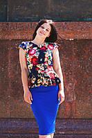 Костюм  кофта-баска принт Вышиванка+юбка синяя