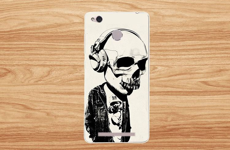 Силиконовый чехол с рисунком для Xiaomi Redmi 3 Pro / 3s Pro Скелет в наушниках