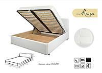 Кровать Милея 180х200 двуспальная кожаная с мягким изголовьем и подъемным механизмом