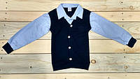 Свитер с рубашкой обманка на мальчика, Турция 5-12 лет