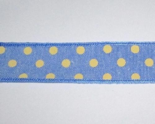 Лента Горох хлопковая 2,5 см, синяя
