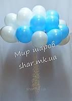 Облако из 25 шаров с гелием (белый, голубой)