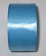 Лента атлас 4 см голубая
