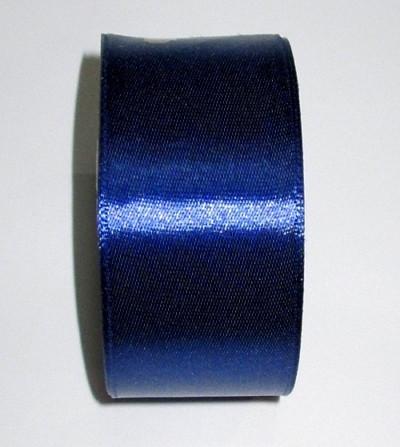 Лента атлас 4 см темно-синяя