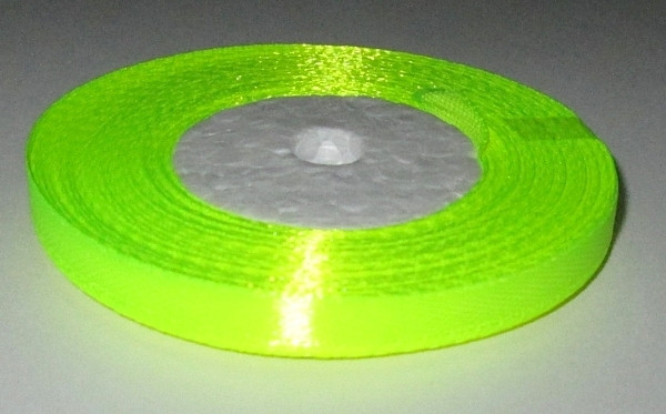 Лента атласная 6 мм, кислотно-желтая