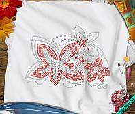 Аппликация, наклейка из страз на ткань Цветок (Стекло 2мм-красн., 3мм-бел.)