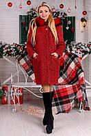Зимнее женское красное пальто с капюшоном  Делфи Букле Крупное Мodus 44-50 размеры