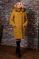 Зимнее женское горчичное пальто с капюшоном  Делфи Букле Крупное Мodus 44-50 размеры