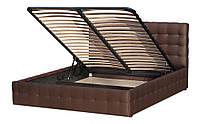 Кровать Эванс 160х200 двуспальная кожаная с мягким изголовьем и подъемным механизмом