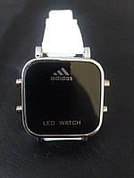 Спортивные часы Adidas LED WATCH, Адидас Лед белые ( код: IBW016O )