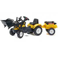 Трактор на педалях ковш прицеп Falk RanchTrac желтый