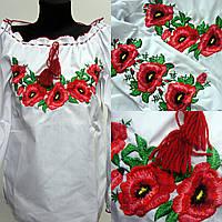 Вышитая блуза для девочки Мак розовый, рост 140
