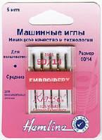Иглы для бытовых швейных машин вышивальные №90/14