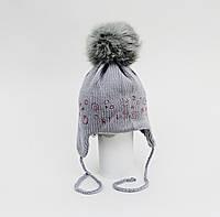 Шапка для девочки зимняя на завязках 100% шерсть