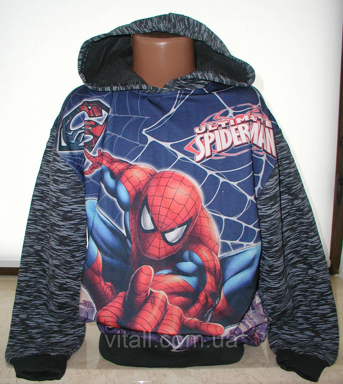 """Батник """"Spider man""""  для мальчика от 9до12 лет темно-серый"""