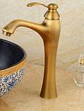 Смеситель высокий для чаши умывальника бронзовый 0042, фото 2