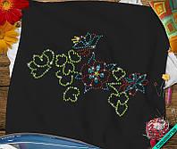 Наклейка из страз на ткань Цветок (DMC 2мм-красн., 2мм-сапф., 3мм-жёл., 3мм-эмер.)
