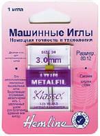 Иглы для бытовых швейных машин для шитья металлизированной нитью двойные №80/12- 3 мм