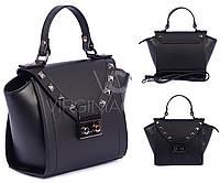 Модная черная кожаная сумка