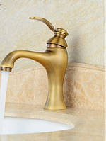 Смеситель для умывальника в ванную бронза однорукий 0043, фото 1