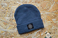 Молодежная шапка мужская темно- синяя