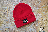 Молодежная мужская шапка стейси красная