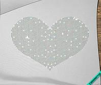 Аппликация, наклейка из страз на ткань Сердце (DMC 4мм-бенз.)
