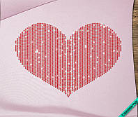 Аппликация, наклейка из страз на ткань Сердце (DMC 4мм-красн.)
