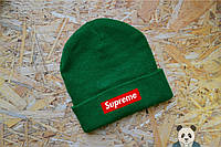 Модная мужская шапка суприм,Supreme Beanie зеленая