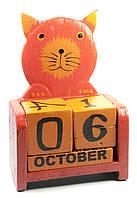 Календарь из дерева настольный Кот