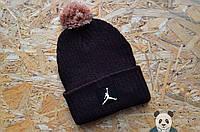 Стильная шапка черная с бубоном джордан,Jordan