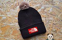 Черная стильная шапка мужская The North Face Beanie  с бубоном