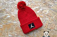 Стильная шапка красная с бубоном джордан,Jordan