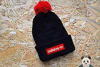 Мужская черная шапка с бубоном адидас,Adidas